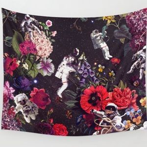 Flowers and astronauts tapestry from Society6